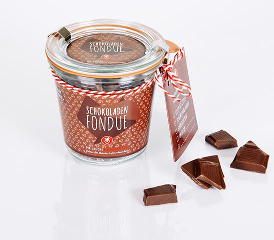 Schokoladenfondue im Glas